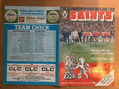 Saints v Everton signed football programme, 14 February 1981 - FA Cup 5th Round