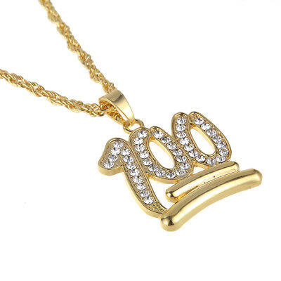 """Hip Hop Gold Plated Crystal 100 Stainless Steel Pendant 28"""" Chain Necklace Gift"""