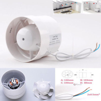 4'' Inline Ducting Fan Booster Exhaust Blower Air Cooling Filter Vent Fans ABS