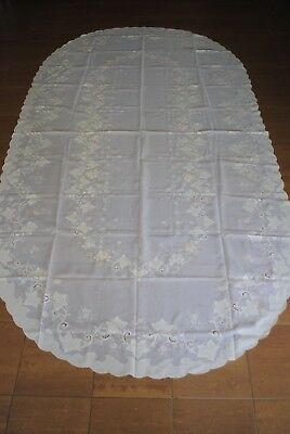 VINTAGE WHITE ORGANZA OVAL TABLECLOTH 300 x 162cm EMBROIDERED FLOWERS & FOLIAGE