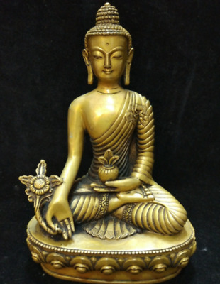 Buddha Chinese Statue Old brass Hand Carved Tibet Figure Buddhism Tibetan