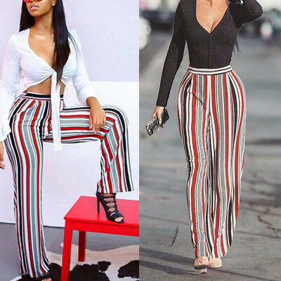 Women Ladies Wide Leg High Waist Long Loose Casual Pants Trousers Multi-color US