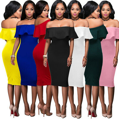 Sexy Women Evening Cocktail Dress Bodycon Off Shoulder Midi Skirt Ruffle Fashion