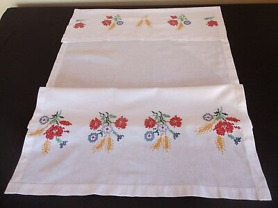 Vintage Hand Embroidered Country Flowers White Linen/cotton Blend Curtain/blind