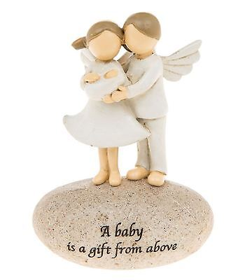 Parent Angels Holding New Baby Stone Ornament A Baby Is A Gift From Above