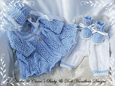 "Babydoll Handknit Designs Knitting Pattern Baby Willow 16-22"" Doll / 0-3M Baby"