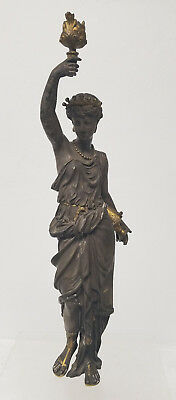 Antique Vintage 19th Century Silver Gilt Bronze Statue Figure Lady Lamp French