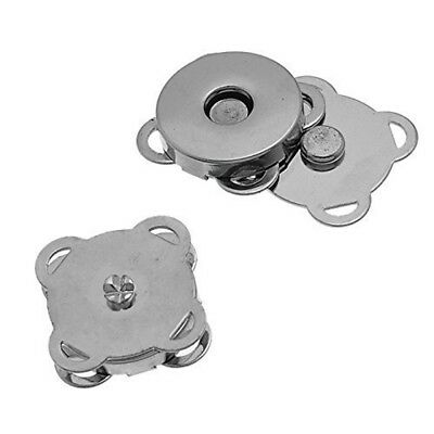 10 Sets Silver Sew In Magnetic Bag Clasps 18mm--Great for Sewing, Craft, Cl P1K5