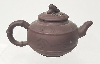 Antique Vintage Chinese Yixing ZIsha Teapot Signed Repaired Handle