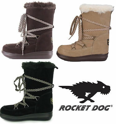 dddd8041f7568 Rocket Dog Snowcrush Ladies Lace Up Suede Winter Fur Lined Boots New Size  UK 3-