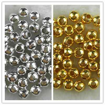 Gold/Silver Plated Metal Charm Findings Spacer Loose Beads 3mm 4mm 5mm 6mm
