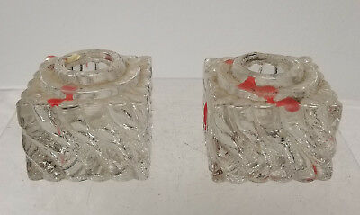 Antique Pair of Crystal Glass Candlestick Holders As Is Chipped