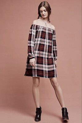 ec432d8ab58 NEW Anthropologie Cloth   Stone red Plaid Off The Shoulder Swing Tunic Dress  XL