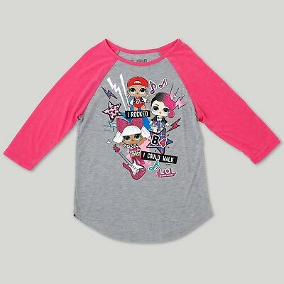Girls' L.O.L. Surprise! Glee Dolls Graphic 3/4 Sleeve Raglan T-Shirt - Heather G