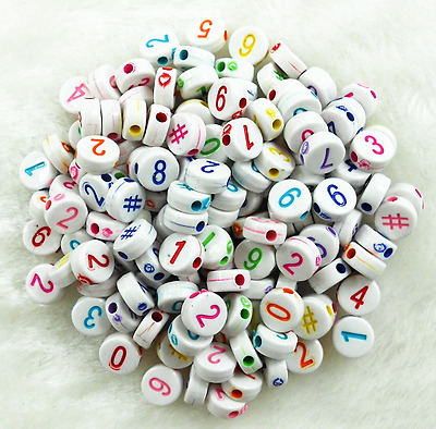 "100Pcs 6mm Mixed Color in White Assorted Number ""#"" Acrylic Round Spacer Beads"