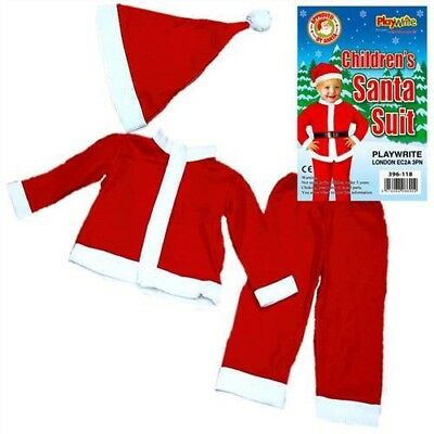 Toddlers Father Christmas Santa Claus Suit Beard Costume Children's Kids 4-6