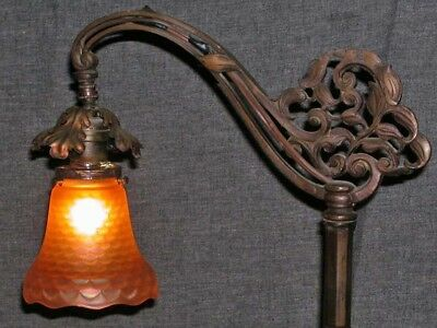Antique Victorian Arts Crafts Bridge Floor Lamp Fishscale Carnival Glass Shade
