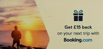 £15 BOOKING.COM - Voucher Coupon Hotel Discount Code Gift Card Christmas Present