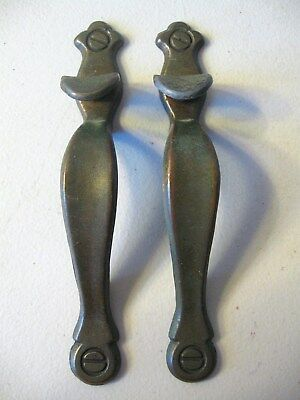 (2) Antique Brass Finish Drawer Pulls / Handles -- Original Screws Included