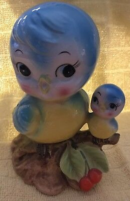 Adorable Vintage Anthropomorphic Norcrest Blue Bird Momma & Baby Bird Bank