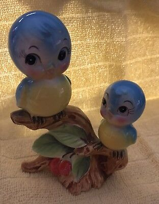 Adorable Vintage Anthropomorphic Norcrest Bluebirds On A Branch Figurine