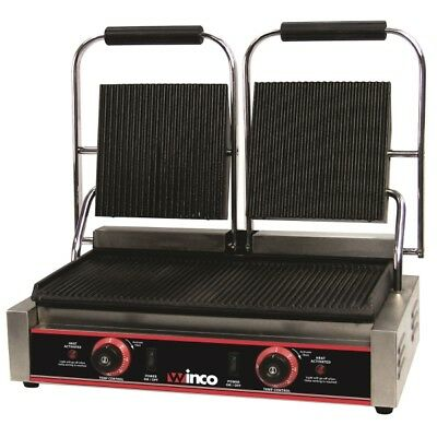"""Double Panini Grill, Italian Style, 9"""" Ribbed Plates, Electric 120V, Winco EPG-2"""