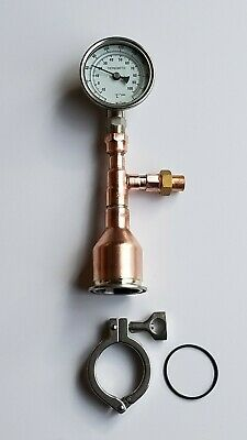 """Moonshine Still DIY Kit Topper 2/"""" x 1//2 Copper thermometer!! Gasket Tri Clamp"""
