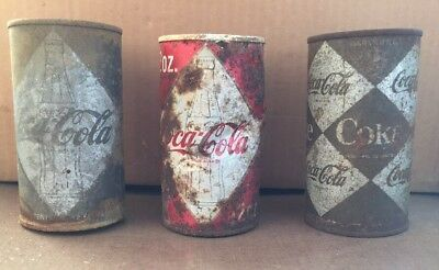 Vintage Coca-Cola Coke empty Can lot of 3 cans Diamond Rusty