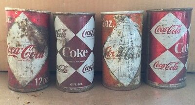 Vintage Coca-Cola Coke empty Can lot of 4 cans Diamond Rusty