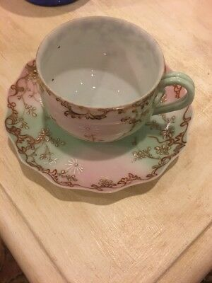 Antique Cup Saucer Eggshell Delicate