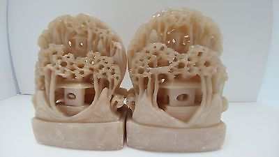 Antique Hand Carved Oriental Soapstone Bookends Set Pagoda, Trees, Scroll Work