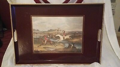 antique tray/ table with hunt scene