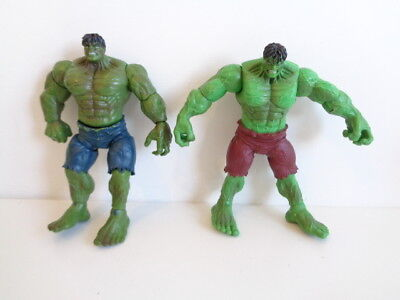 "MARVEL INCREDIBLE HULK - 2 x 6"" ACTION FIGURES - one with ARM ACTION"