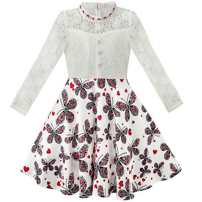 US Kids Girls Dress Lace Pearl Plum Blossom Formal Princess Party Size 7-14