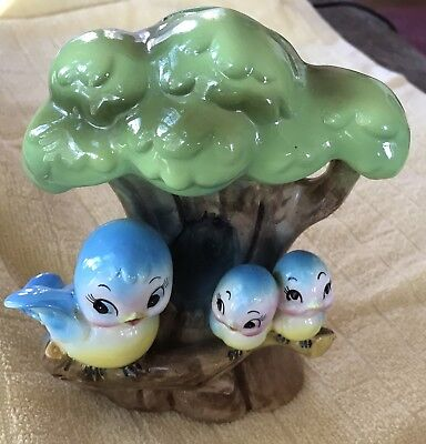 Extremely Rare Vintage Anthropomorphic Norcrest Blue Bird Momma-Babies Tree Bank