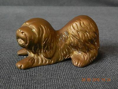 Vintage Solid Brass Old English Playful Sheep Dog Figurine