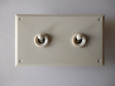 Vintage Crabtree 2 Gang Bakelite & Ceramic Light Switch Complete