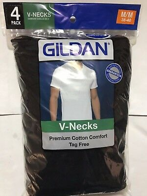 Gildan Men's Black V Neck T Shirts 4 Pack S M L Xl Cotton Comfort Tag Free