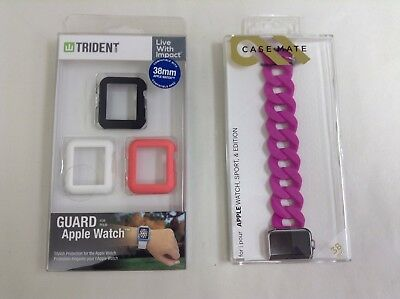 Bundle Case-Mat Replacement Band for Apple Watch 38mm PINK w/ guard protect case