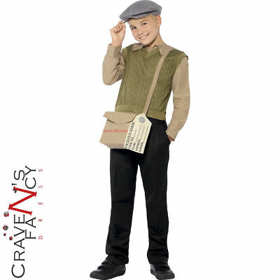 1940s Wartime School Boy Costume Child WW2 Fancy Dress Kids Book Day Outfit New