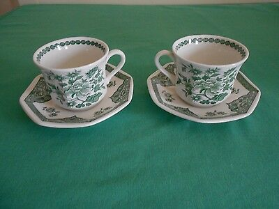 Royal Staffordshire  J&G Meakin Green Flower pattern Cup & Saucer x 2