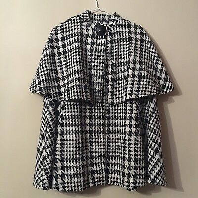 Vintage 90's Houndstooth Check Cape Coat With Decorative Button Size L
