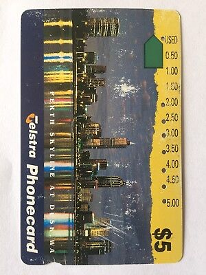 Telstra Phone Card - Collectable Retro Telephone Communication Perth Skyline