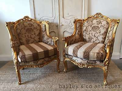 Vintage Pair Gold Gilt Bergere Chairs Wing Back Louis XVI Style - P21