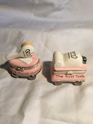Mud Pie Princess First Curl First Tooth Set Treasure Box Holder Girl Ceramic