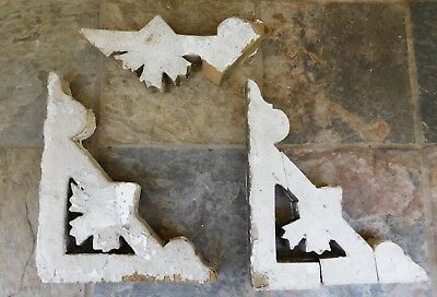 Set of 2 Ornate Wooden House Architectural Salvage Corbels Chippy white paint