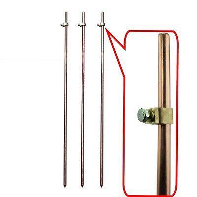 3x Earth Ground Rods + Clamps Electric Fence Energiser Stake Earthing Grounding