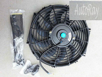12'' 12V 12 inch 12 V Thermo Radiator Cooling Fan & Mounting Kits CURVED BLADE