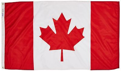Canada Flag 3x5 ft. Nylon SolarGuard Nyl-Glo 100% Made in USA to Official Uni...