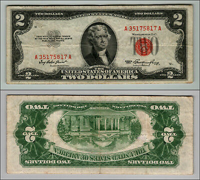 1953 $2 DOLLAR BILL OLD US NOTE LEGAL TENDER PAPER MONEY CURRENCY RED SEAL p957